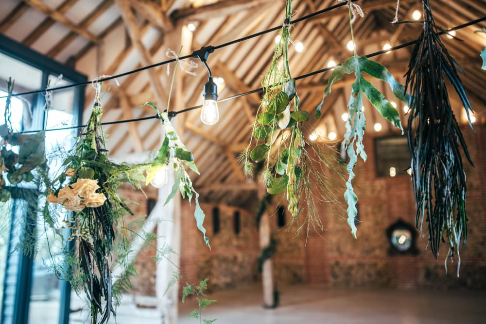Decor Greenery Foliage Festoon Lights Flowers Decor Decoration Tuffon Hall Wedding Three Flowers Photography