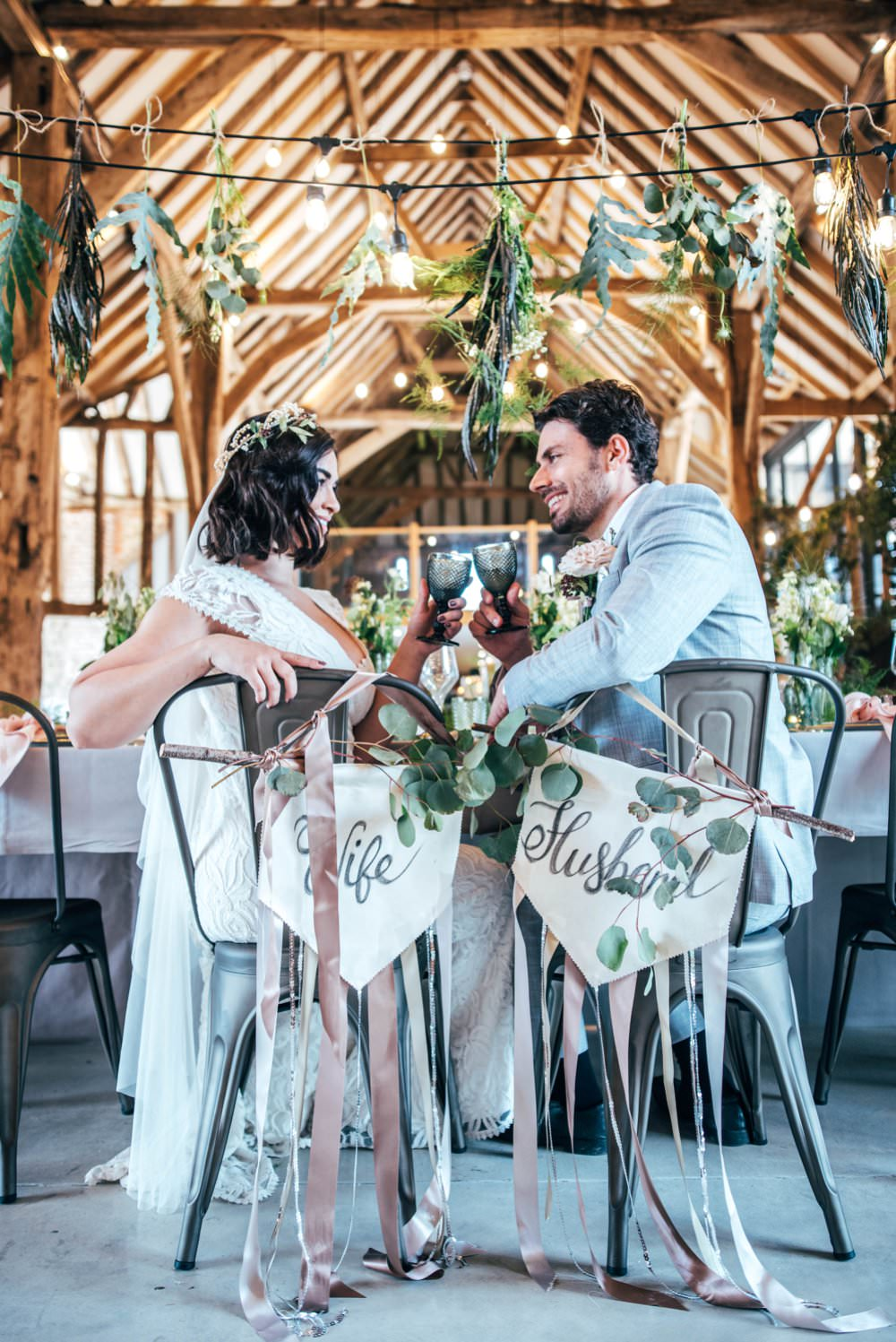 Chair Signs Calligraphy Greenery Foliage Banners Wife Husband Ribbons Tuffon Hall Wedding Three Flowers Photography