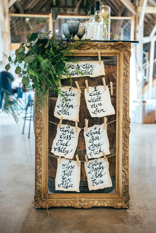 Calligraphy Gold Frame Table Plan Seating Chart Foliage Greenery Tuffon Hall Wedding Three Flowers Photography