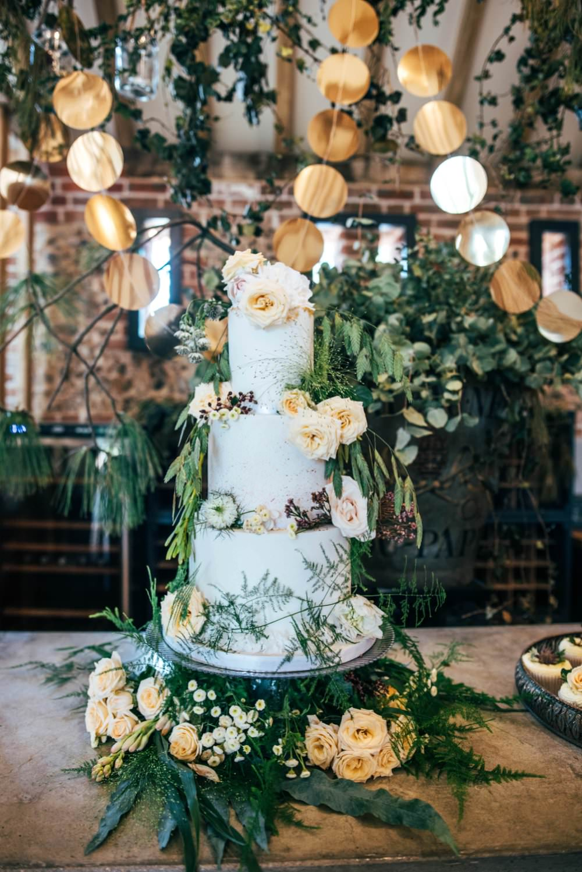 Cake Tall Flowers Greenery Foliage Peach Pretty Tuffon Hall Wedding Three Flowers Photography