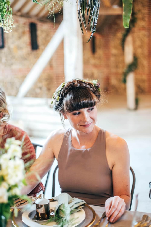 Bridesmaid Bridesmaid Hair Style Up Do Halo Braid Plait Bangs Fringe Tuffon Hall Wedding Three Flowers Photography
