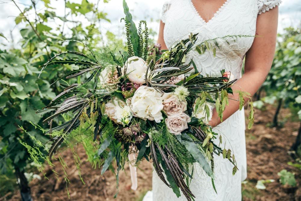 Bouquet Flowers Bride Bridal Pink Peony Rose Ivory Greenery Foliage Tuffon Hall Wedding Three Flowers Photography