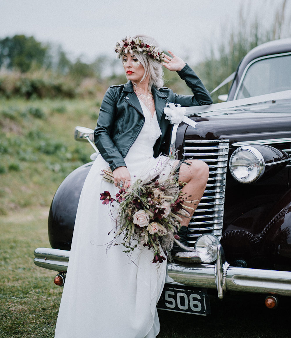Bride Bridal Dress Gown Lace Back Lisa Lyons Leather Jacket Unconventional Wedding Ideas Pierra G Photography