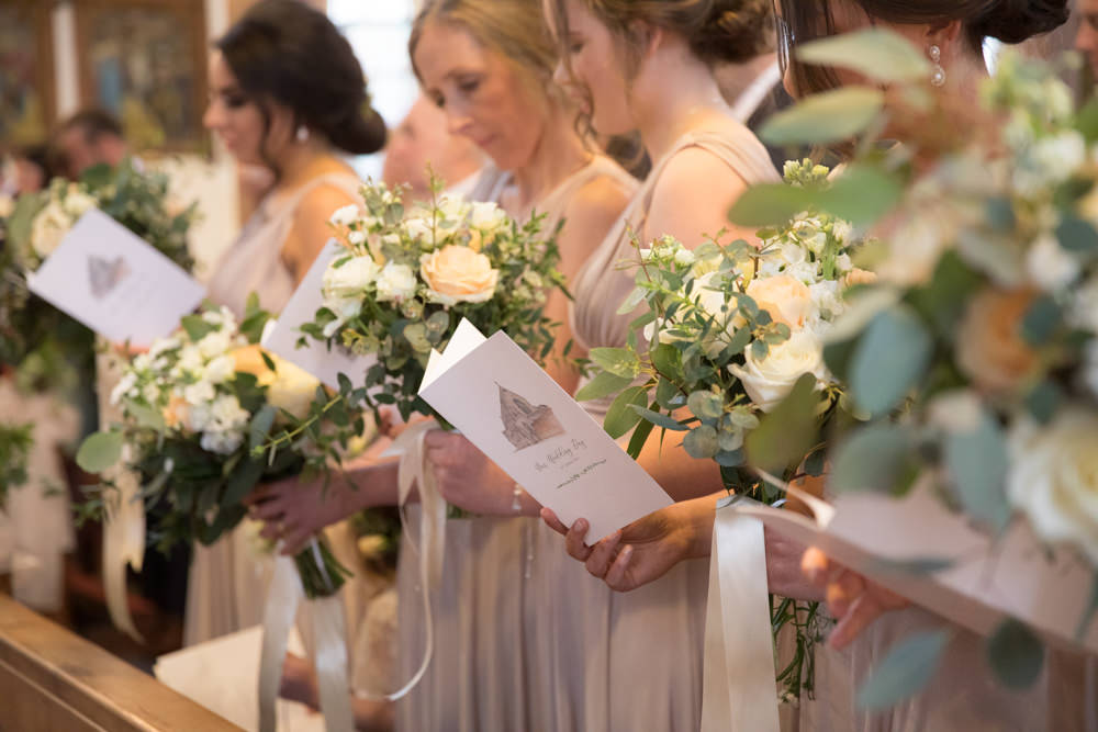 Bridesmaids Bouquet Ribbon Nude Neutral Dresses Watercolour Wedding Kerry Ann Duffy Photography