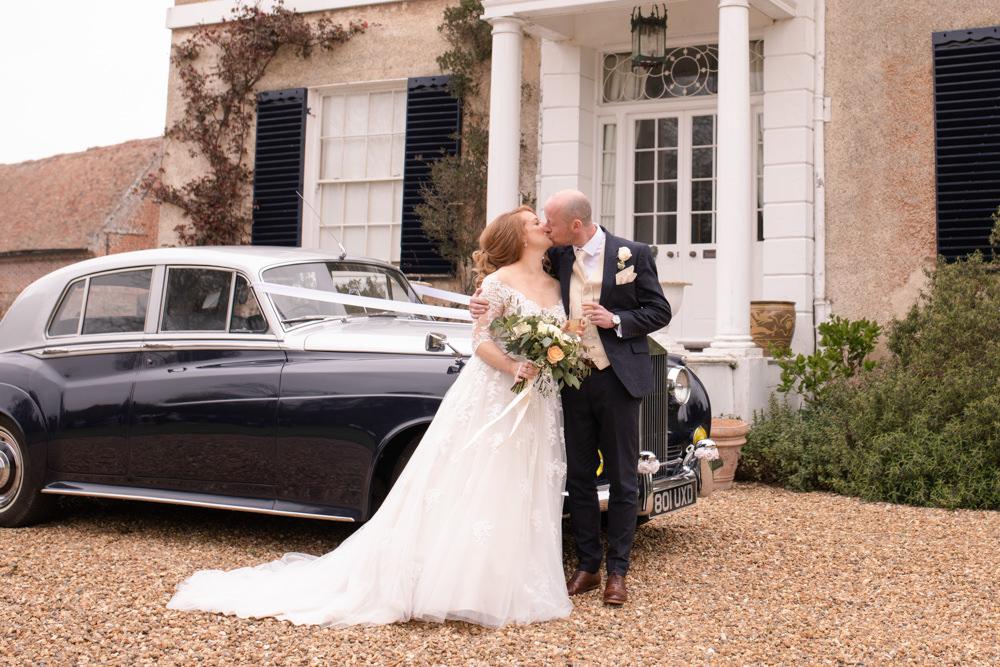Bride Bridal Lace Bardot Button Back A Line Dress Gown Navy Suit Cream Waistcoat Groom Long Up Do Vintage Car Watercolour Wedding Kerry Ann Duffy Photography