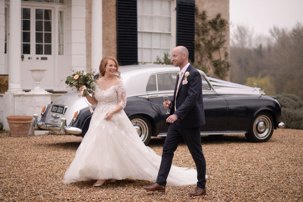 Bride Bridal Lace Bardot Button Back A Line Dress Gown Navy Suit Cream Waistcoat Groom Long Up Do Watercolour Wedding Kerry Ann Duffy Photography