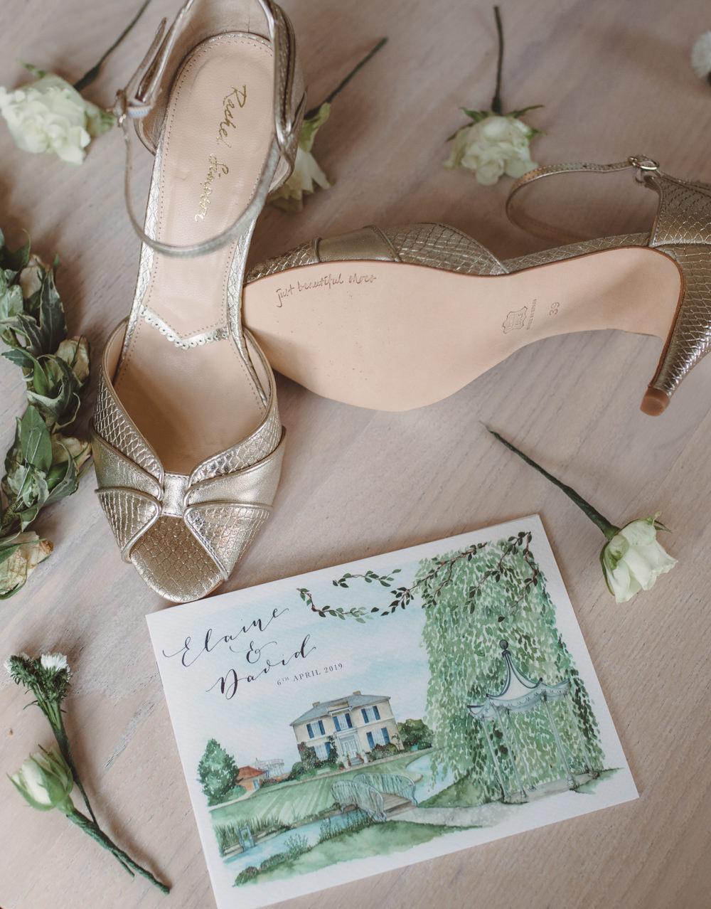 Bride Bridal Rachel Simpson Shoes Stationery Watercolour Wedding Kerry Ann Duffy Photography