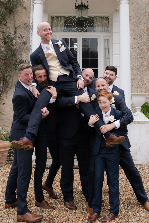 Groomsmen Navy Suit Cream Waistcoat Groom Watercolour Wedding Kerry Ann Duffy Photography