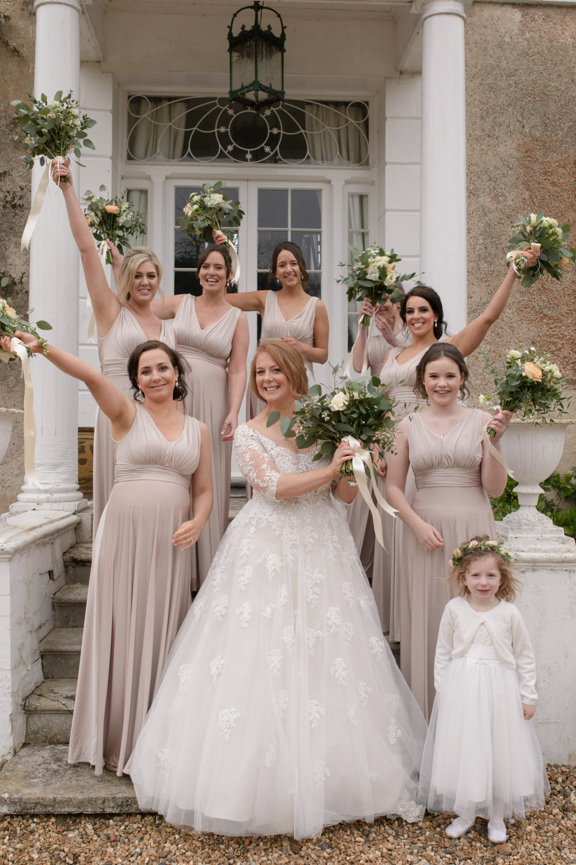 Bride Bridal Lace Bardot Button Back A Line Dress Neutral Oyster Bridesmaids Watercolour Wedding Kerry Ann Duffy Photography