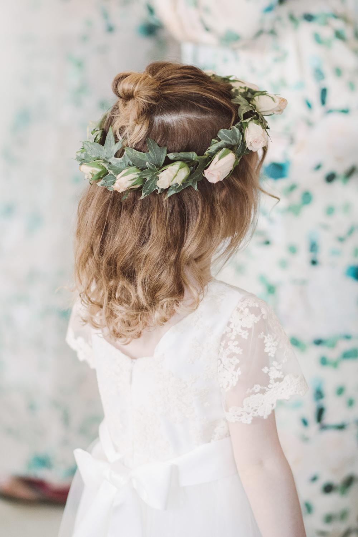 Flower Girl Floral Crown Watercolour Wedding Kerry Ann Duffy Photography