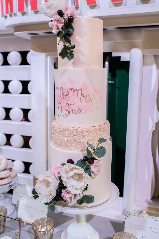 Modern Cake Berries Flowers Floral Greenery Mr & Mrs Watercolour Wedding Kerry Ann Duffy Photography