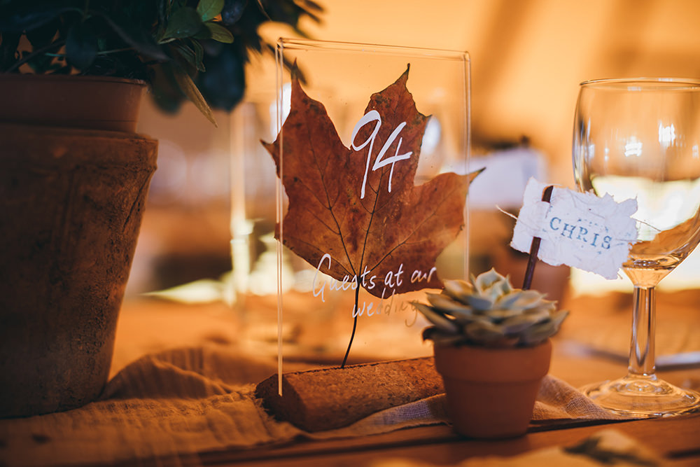 Glass Perspex Acrylic Leaf Table Number Name Autumnal Rustic Wedding Mark Tattersall Photography