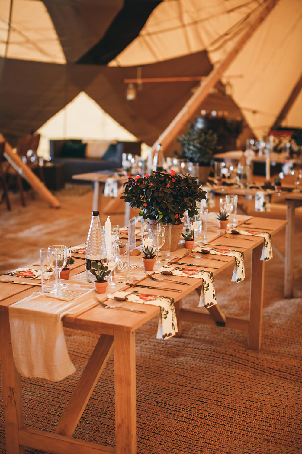 Tipi Long Tables Decor Runner Pot Plant Autumnal Rustic Wedding Mark Tattersall Photography