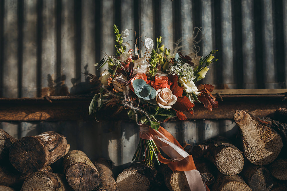 Bride Bridal Bouquet Flowers Orange Rose Seed Heads Eculyptus Autumnal Rustic Wedding Mark Tattersall Photography