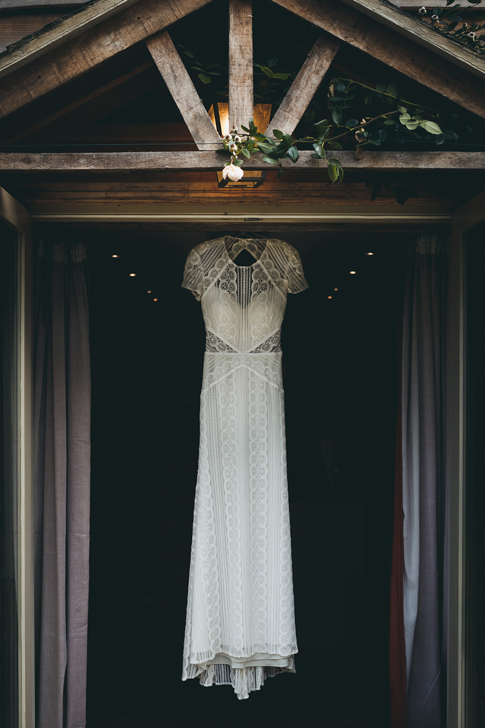 Dress Gown Bride Bridal Lace Lenora Watters Wtoo Beaded Cap Sleeves Autumnal Rustic Wedding Mark Tattersall Photography
