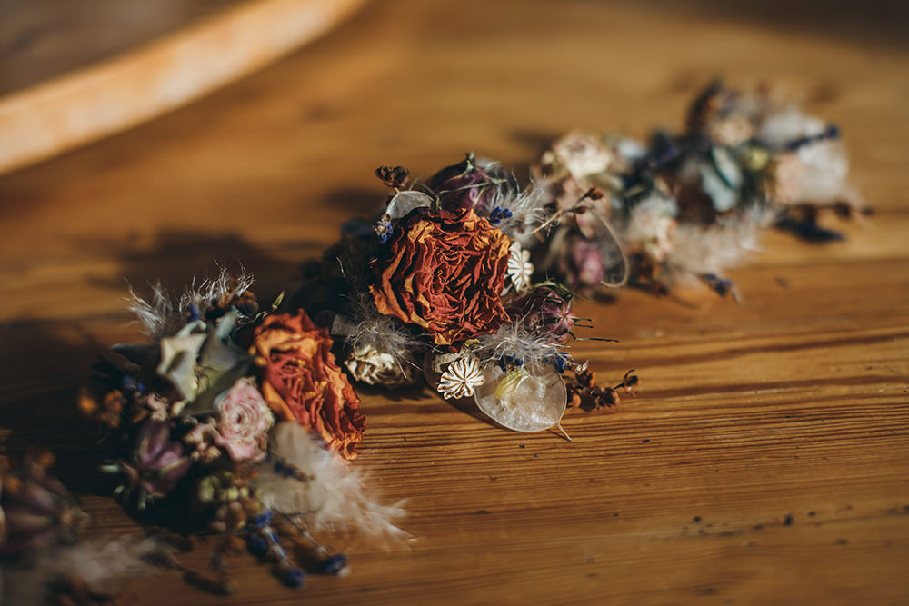 Dried Flowers Buttonholes Autumnal Rustic Wedding Mark Tattersall Photography