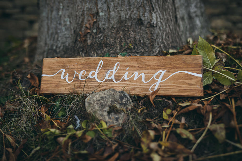 Wooden Calligraphy Sign Signs Signage Autumnal Rustic Wedding Mark Tattersall Photography