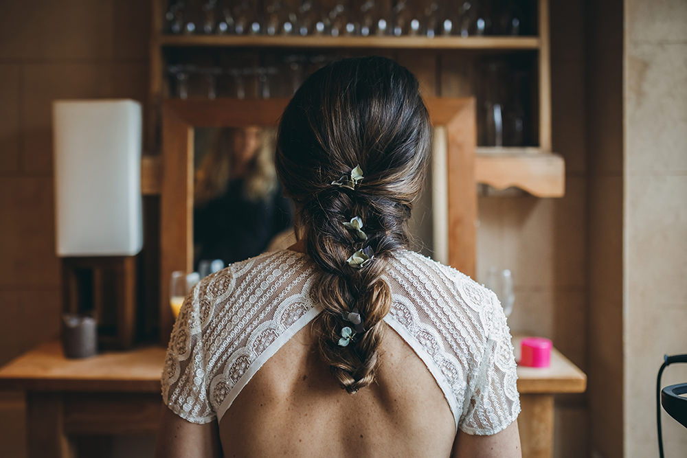 Bride Bridal Hair Style Up Do Plait Braid Autumnal Rustic Wedding Mark Tattersall Photography