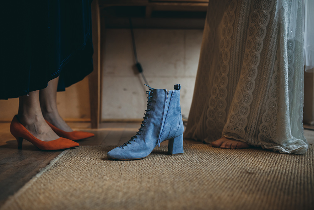 Boots Blue Bride Bridal Autumnal Rustic Wedding Mark Tattersall Photography