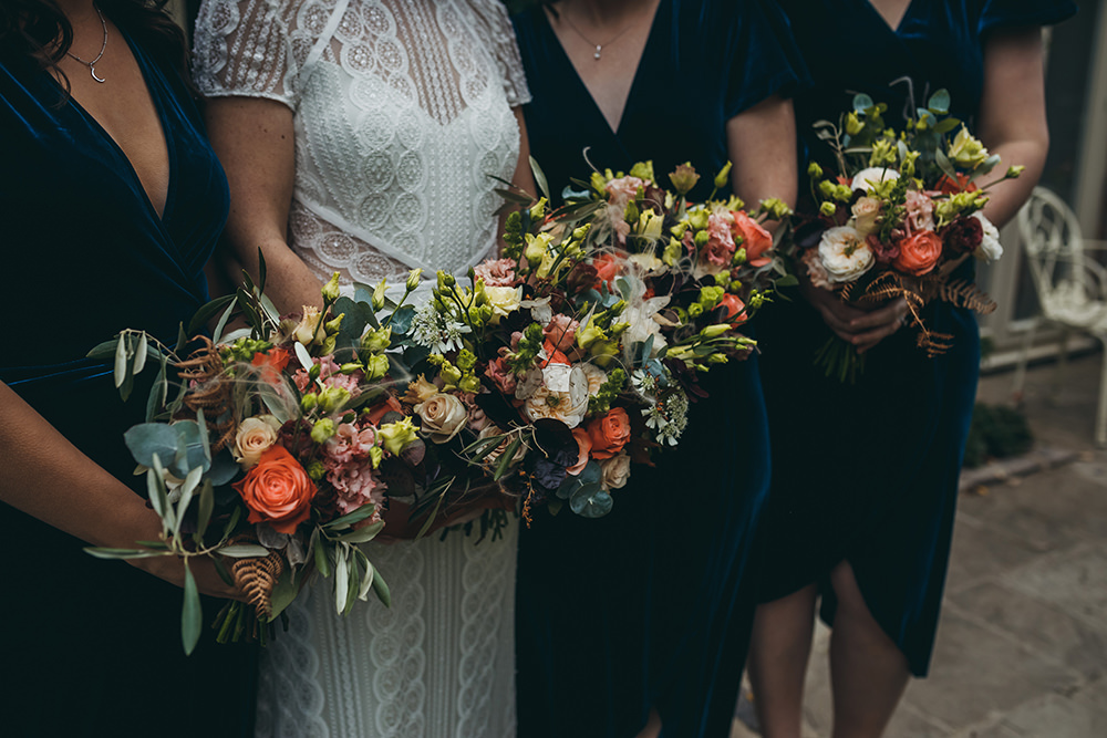 Dried Flowers Bouquet Bride Bridal Wheat Gypsophila Bridesmaids Autumnal Rustic Wedding Mark Tattersall Photography