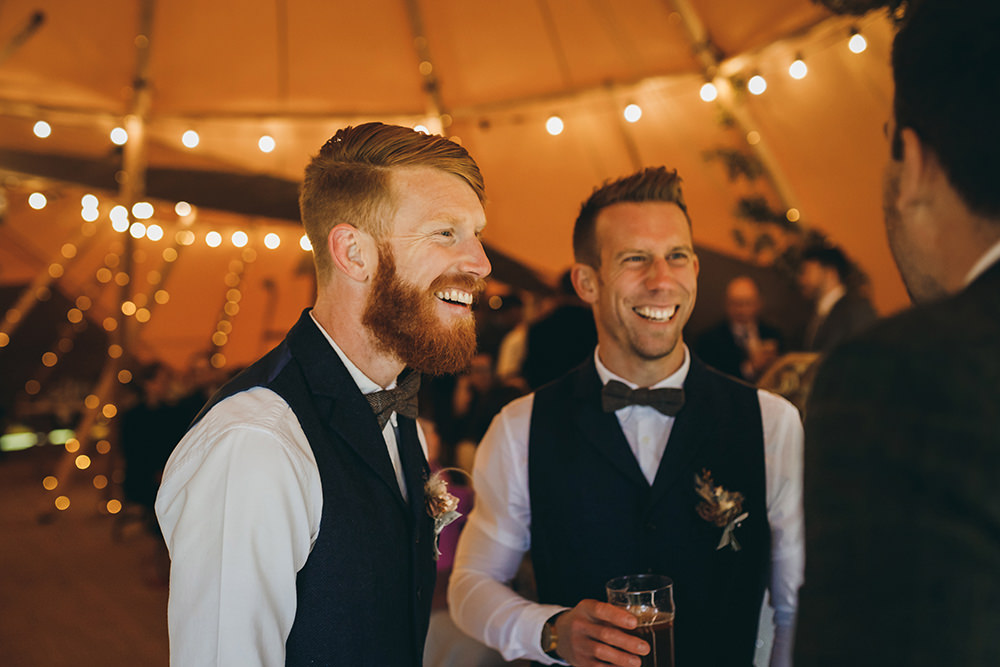 Groom Suit Blue Herringbone Tweed Waistcoat Brown Bow Tie Groomsmen Autumnal Rustic Wedding Mark Tattersall Photography