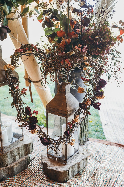 Flower Arangement Tipi Pampas Grass Autumn Fall Dried Flowers Hydrangeas Heart Autumnal Rustic Wedding Mark Tattersall Photography