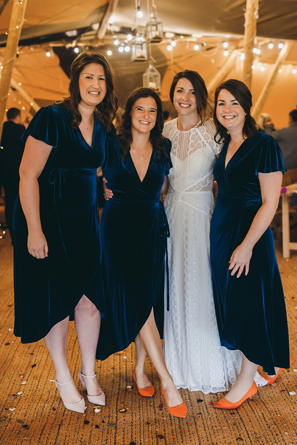 Bridesmaids Bridesmaid Dress Dresses Blue Teal Velvet Autumnal Rustic Wedding Mark Tattersall Photography