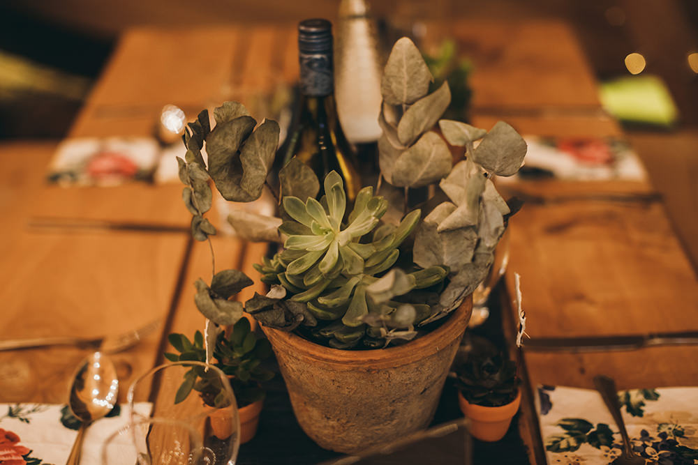 Pot Plant Succulent Centrepiece Decor Table Autumnal Rustic Wedding Mark Tattersall Photography