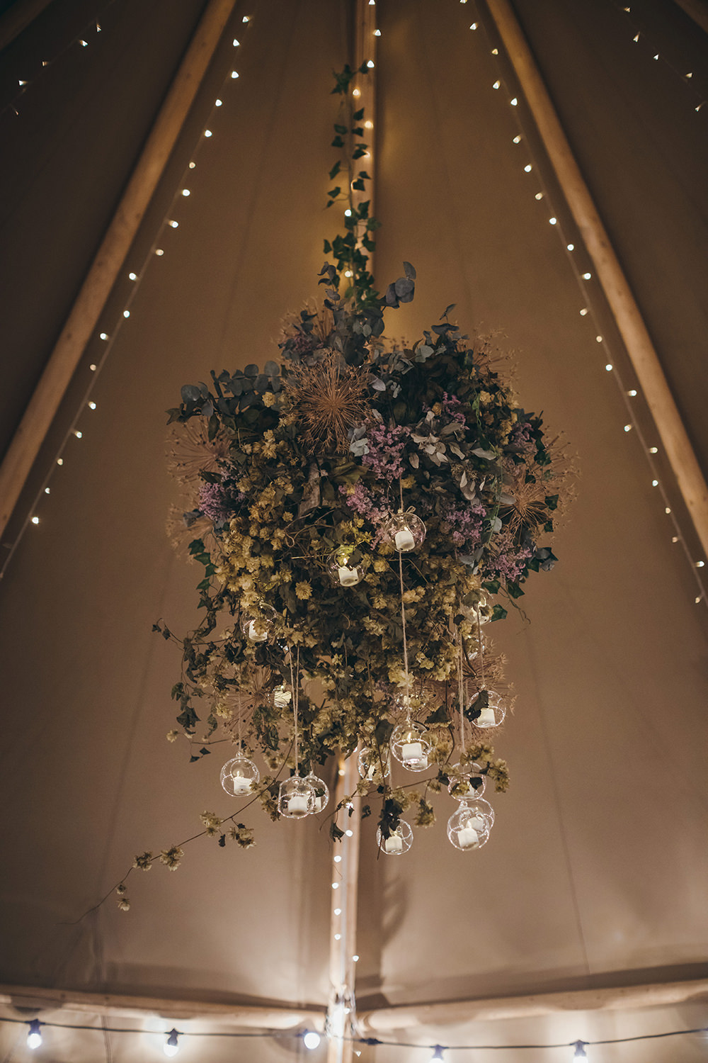 Tipi Flower Floral Chandelier Suspended Hanging Lights Lighting Autumnal Rustic Wedding Mark Tattersall Photography