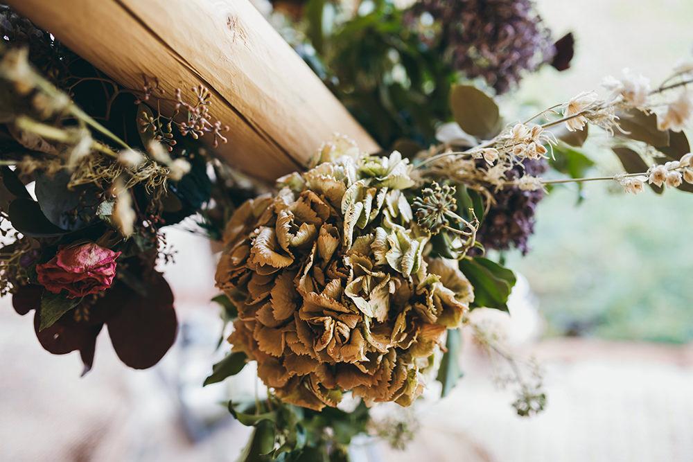 Flower Arangement Tipi Pampas Grass Autumn Fall Dried Flowers Hydrangeas Autumnal Rustic Wedding Mark Tattersall Photography