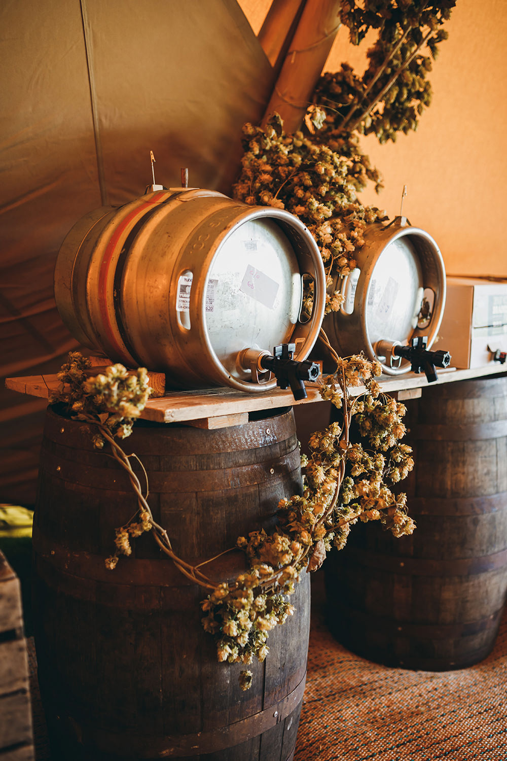 Barrels Drinks Hops Autumnal Rustic Wedding Mark Tattersall Photography