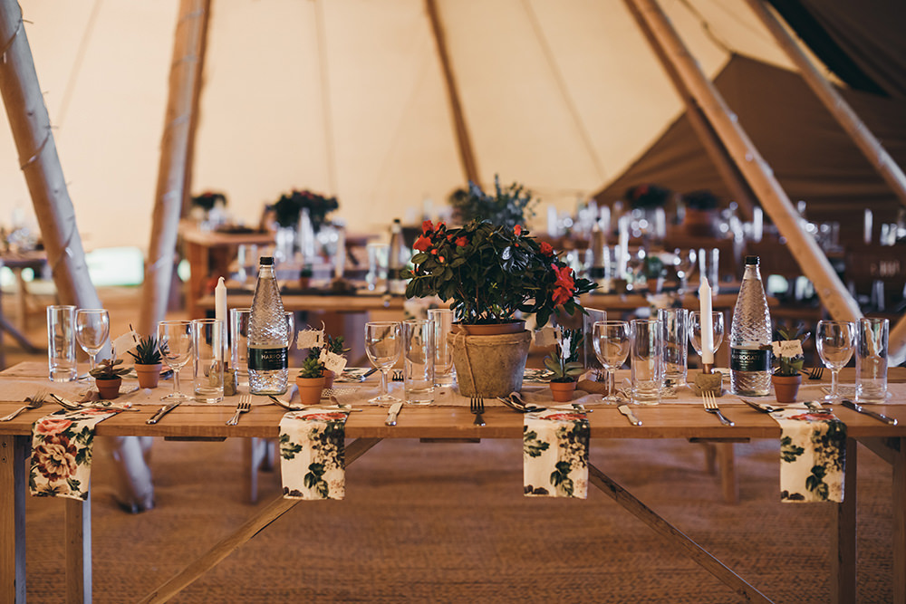 Tipi Decor Tables Floral Napkins Autumnal Rustic Wedding Mark Tattersall Photography