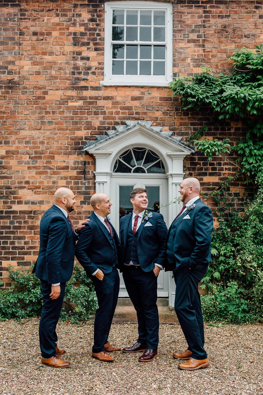 Groom Groomsmen Suit Navy Burgundy Tie Barff Country House Wedding Sarah Beth Photo
