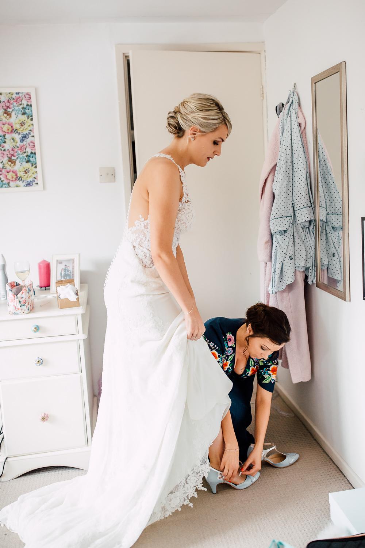 Bride Bridal Dress Gown Essense of Australia Halterneck Lace Barff Country House Wedding Sarah Beth Photo