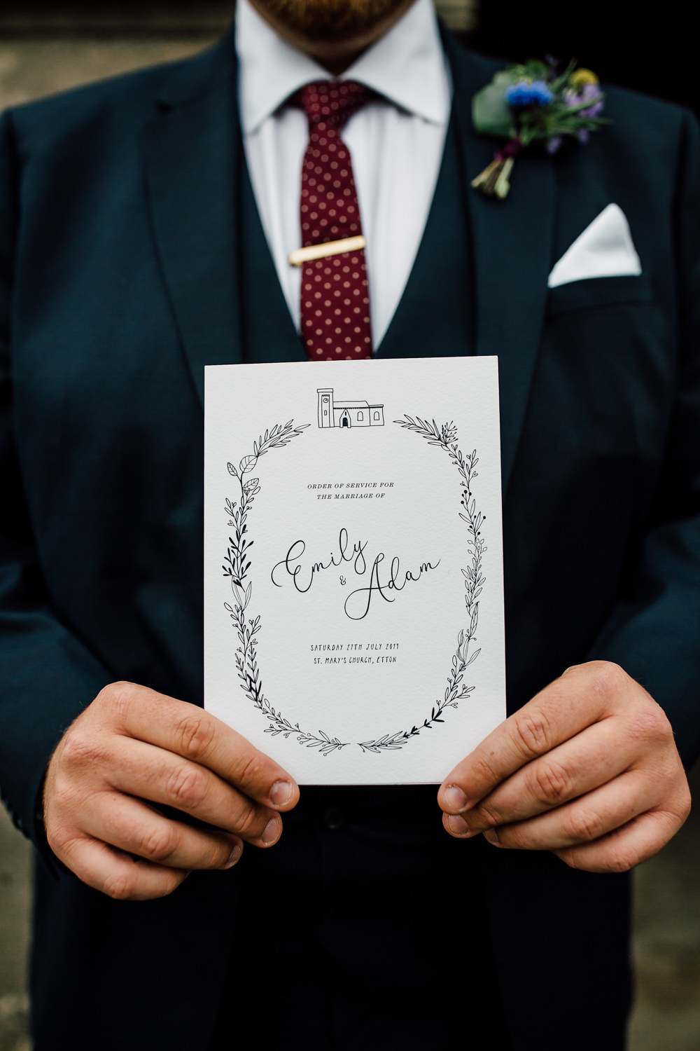 Ceremony Service Booklet Programme Barff Country House Wedding Sarah Beth Photo