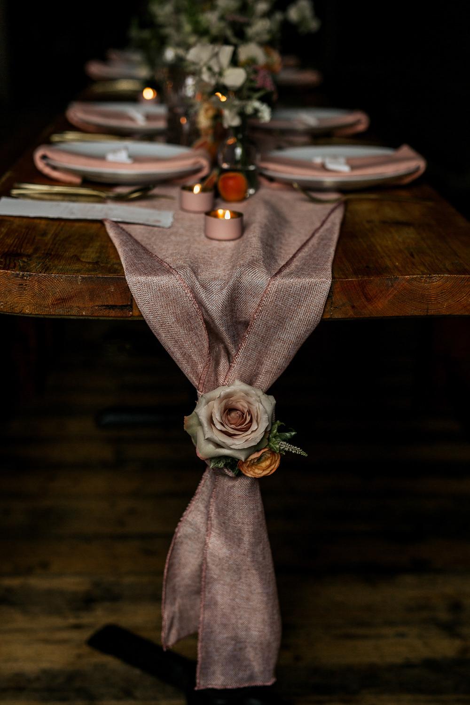 Table Cloth Runner Silk Flower Candles Blush Pink Wedding Ideas Meghan Lorna