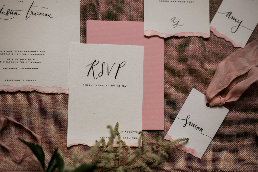 Stationery Invite Invitations Calligraphy Ribbon Flat Lay Suite Blush Pink Wedding Ideas Meghan Lorna