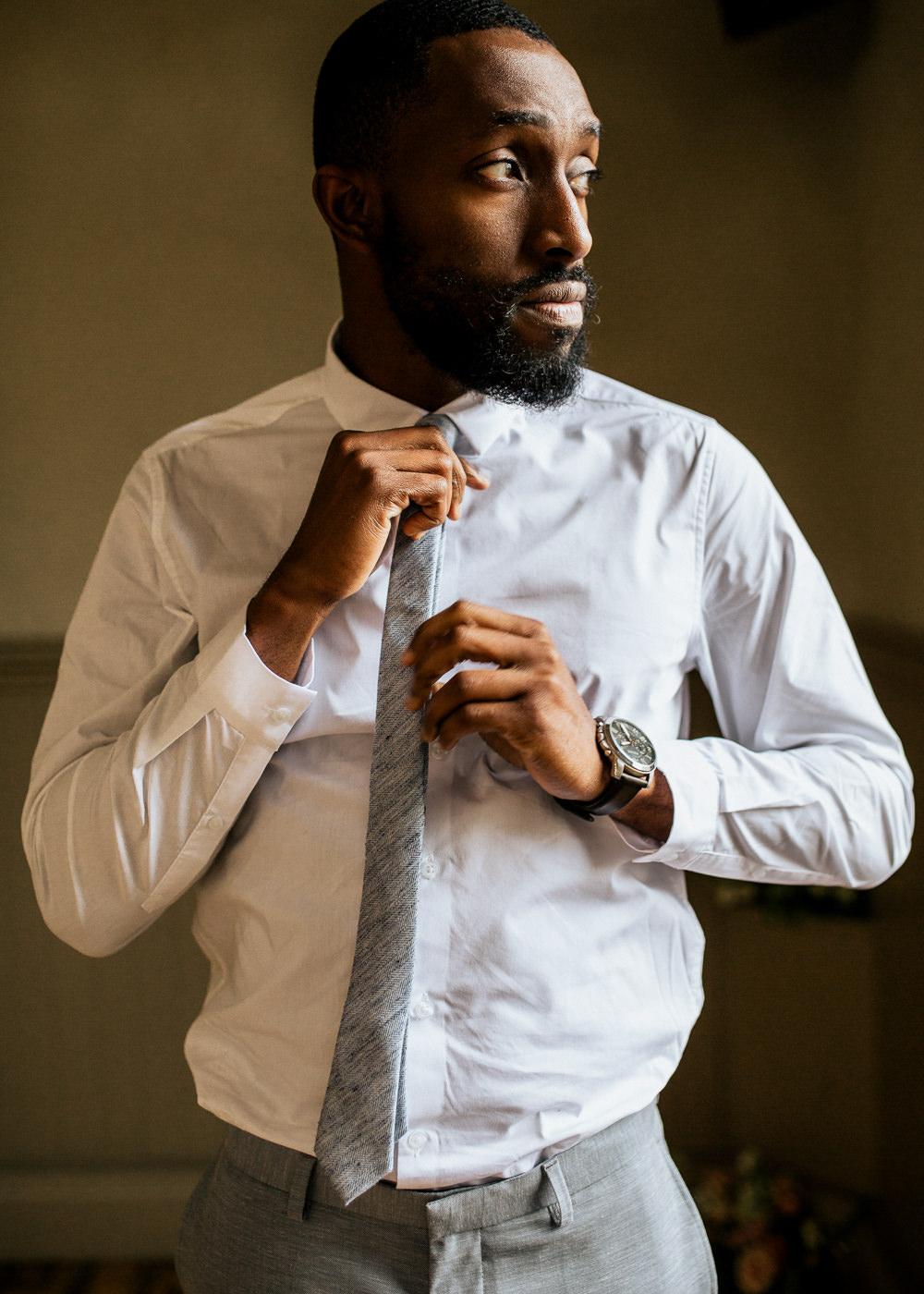 Groom Suit Grey Tie Buttonhole Flowers Blush Pink Wedding Ideas Meghan Lorna