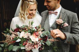 Calke Abbey Wedding HBA Photography Bouquet Flowers Bride Bridal Rose Astilbe Dahlia Blush Burgundy