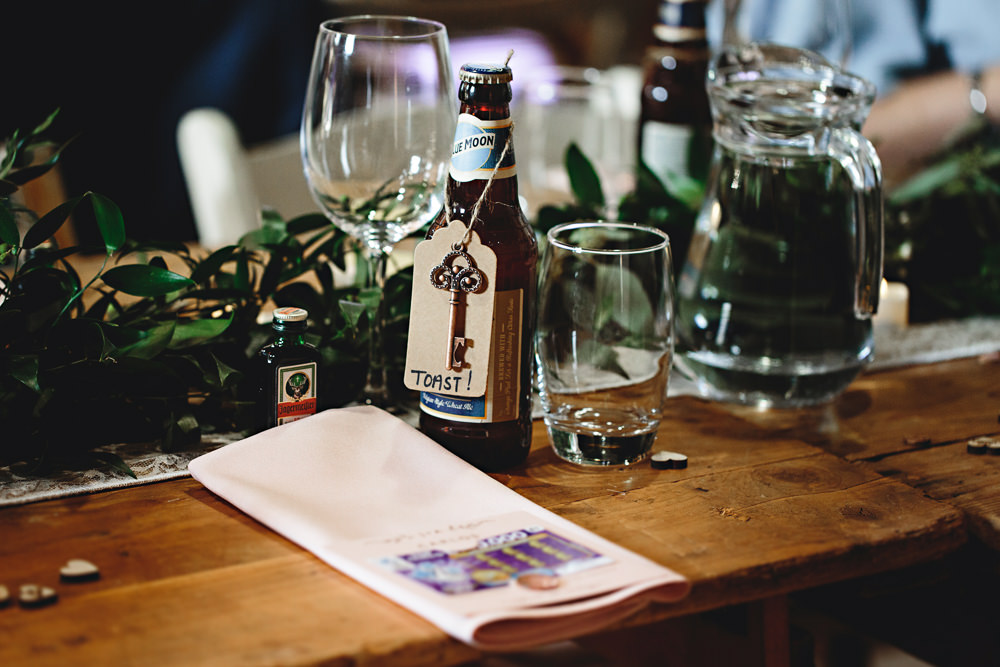 Beer Bottle Favour Calke Abbey Wedding HBA Photography