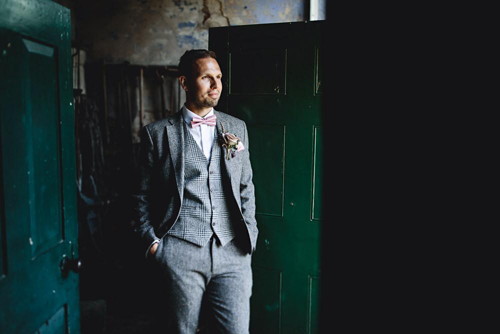 Groom Groomsmen Suit Grey Waistcoat Pink Bow Tie Calke Abbey Wedding HBA Photography