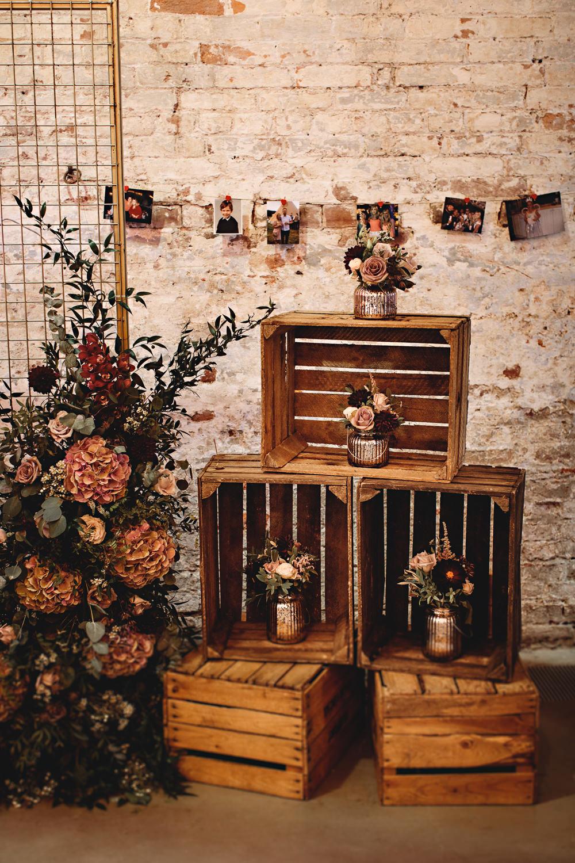 Wooden Crate Decor Flowers Calke Abbey Wedding HBA Photography