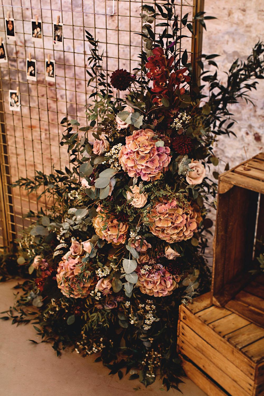 Flowers Rose Astilbe Dahlia Blush Burgundy Hydrangea Calke Abbey Wedding HBA Photography
