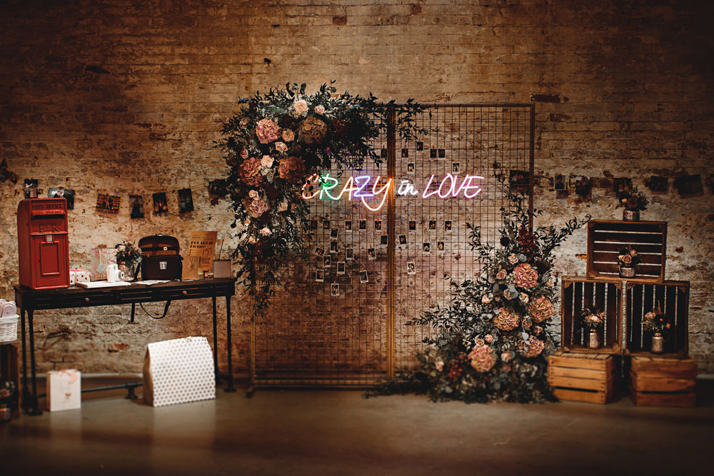 Wire Backdrop Flowers Neon Lights Sign Signage Signs Calke Abbey Wedding HBA Photography