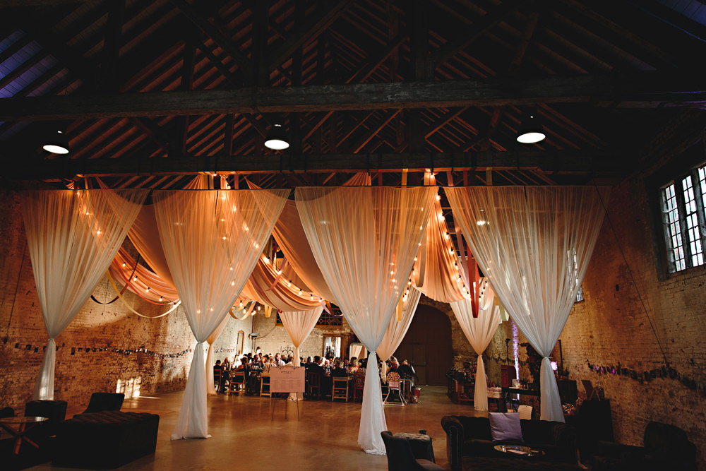 Drapes Fabric Ribbons Decor Decoration Lights Lighting Festoon Lights Calke Abbey Wedding HBA Photography