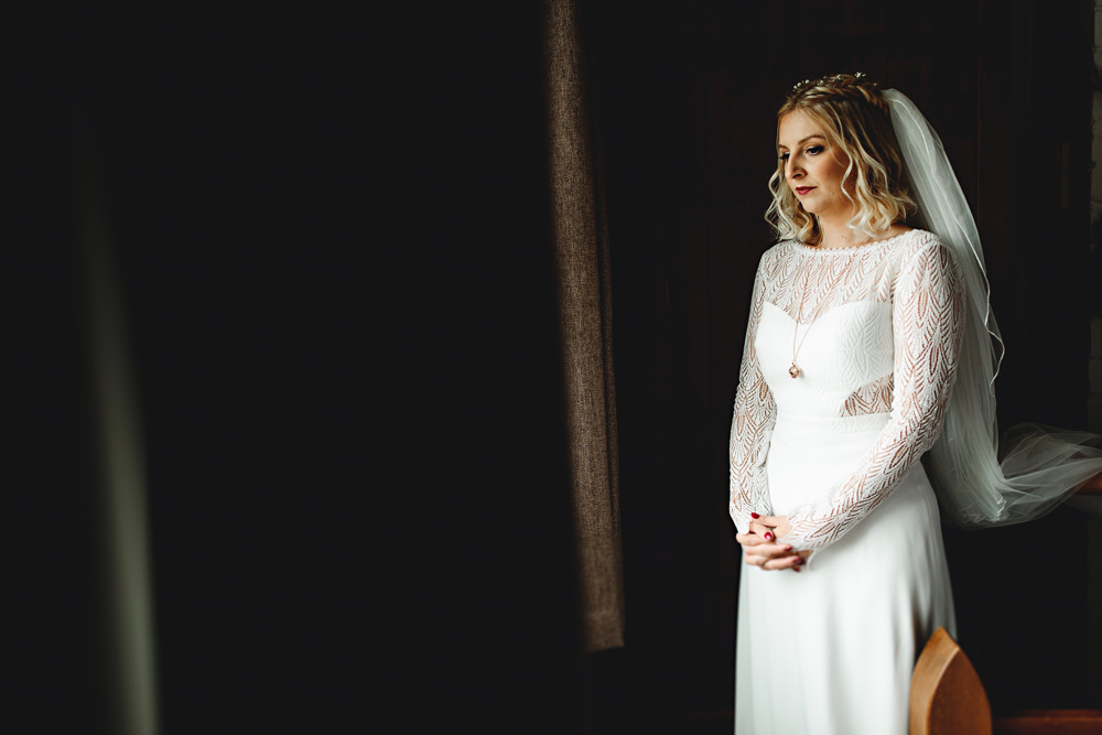 Dress Gown Bride Bridal Rembo Styling Long Sleeves Lace Calke Abbey Wedding HBA Photography