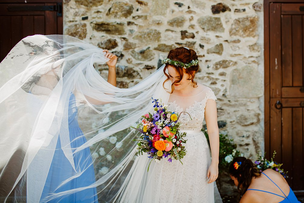 Dress Gown Bride Bridal Lace Tulle Farah Watters Illusion Veil Canonteign Falls Wedding Holly Collings Photography