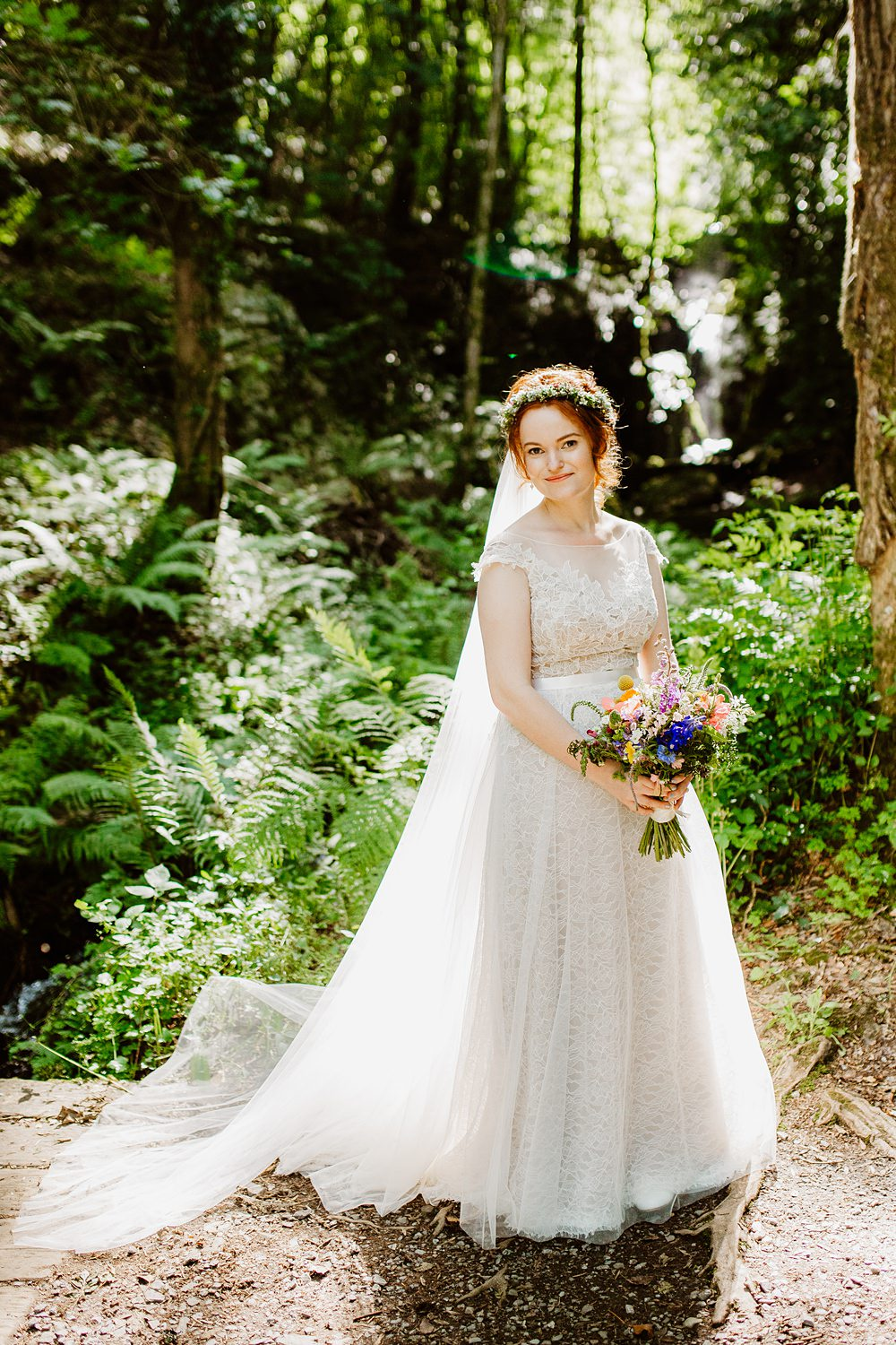 Dress Gown Bride Bridal Lace Tulle Farah Watters Illusion Canonteign Falls Wedding Holly Collings Photography