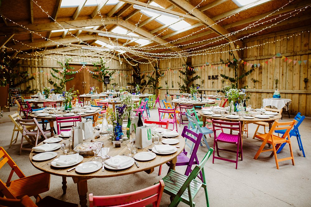 Barn Decor Multicolour Chairs Mismatched Fairy Light Canopy Canonteign Falls Wedding Holly Collings Photography