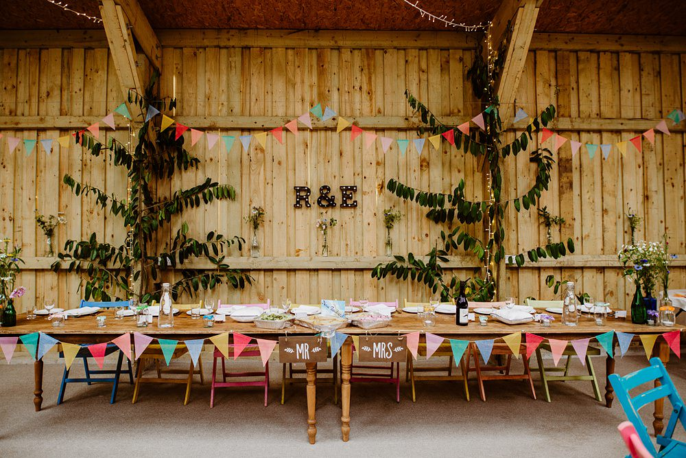 Top Table Bunting Colourful Canonteign Falls Wedding Holly Collings Photography